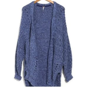 NWT Free People Blue Smoothie Cardi Open Cardigan